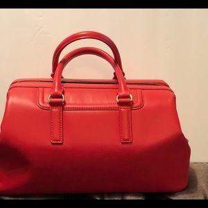 Talbots Red Leather Satchel Handbag